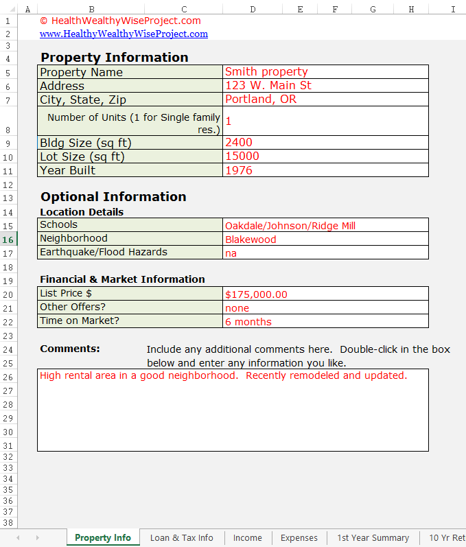 Rental Property Info sheet